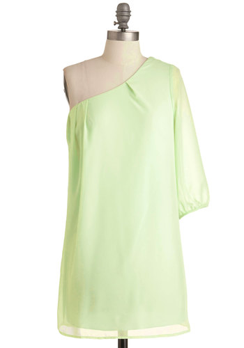 Sweet as Honeydew Dress - Short, Green, Solid, Sheath / Shift, One Shoulder, Party, Vintage Inspired, 60s, Mini, Sheer, Summer