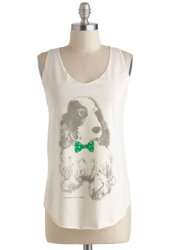 Still Dot It Tank - Cotton, Mid-length, White, Green, Grey, Casual, Tank top (2 thick straps), Print with Animals, Quirky, Summer