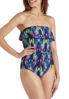 Tones of Tahiti One Piece - Multi, Print, Ruffles, Summer, Beach/Resort, Vintage Inspired, 70s, Strapless