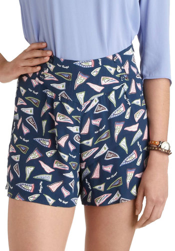 Three Cheers Shorts by Nice Things - International Designer, Blue, Pink, White, Novelty Print, Buttons, Beach/Resort, High Waist, Summer