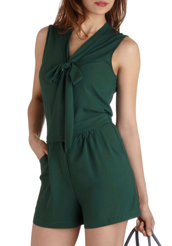 Rise and Pine Romper - Green, Solid, Sleeveless, Pockets, Tie Neck, Casual, V Neck, Beach/Resort, Summer, Long