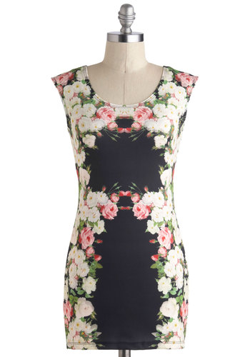Worth a Pretty Peony Dress - Short, Black, Multi, Floral, Party, Bodycon / Bandage, Sleeveless, Scoop, Girls Night Out, Spring, Summer