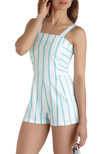 Summer Pep Romper by Motel - International Designer, Long, White, Blue, Stripes, Casual, Cotton, Summer