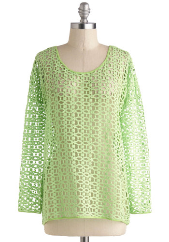 Off the Beachy Path Top - Green, Solid, Vintage Inspired, 80s, Neon, Long Sleeve, Cotton, Mid-length, Casual, Travel