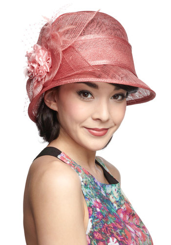 Never Too Swoon Hat - Pink, Solid, Feathers, Flower, Daytime Party, Statement, Vintage Inspired, Pastel