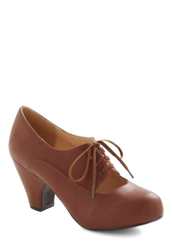 Kudos Were the Days Heel in Brown by Chelsea Crew - Tan, Solid, Cutout, Vintage Inspired, 20s, 30s, Mid, Leather, Faux Leather, Work, Lace Up, 60s
