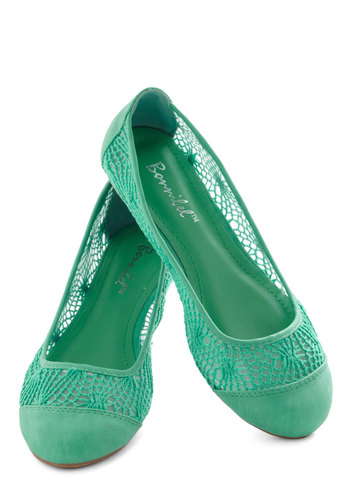 Craft Fair Flare Flat in Teal - Green, Solid, Crochet, Flat, Casual