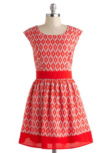 Bold Acquaintances Dress - Chiffon, Mid-length, Red, White, Print, Party, Fit & Flare, Cap Sleeves, Scoop