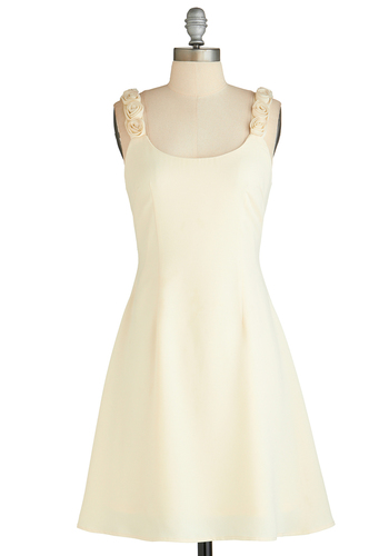 Plotting Perfection Dress - Cream, Solid, Flower, Wedding, Cocktail, A-line, Tank top (2 thick straps), Scoop, Fairytale, Mid-length, Prom, Bride