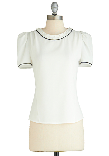 Prim and Punctual Top - Mid-length, White, Black, Solid, Pearls, Work, Short Sleeves, Party, Vintage Inspired