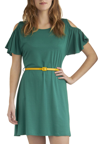 Got the Green Light Dress - Green, Solid, Cutout, Belted, Casual, A-line, Short Sleeves, Scoop, Short, Summer