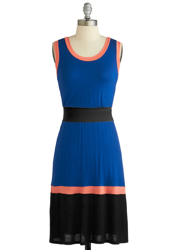 Flight to Aruba Dress - Blue, Pink, Black, Casual, A-line, Tank top (2 thick straps), Scoop, Mid-length, Colorblocking, Exclusives