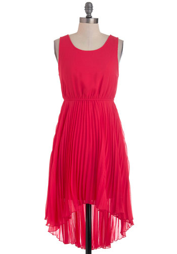 All Day Cachet Dress - Mid-length, Red, Solid, Pleats, Party, High-Low Hem, Tank top (2 thick straps), Sheer, Prom