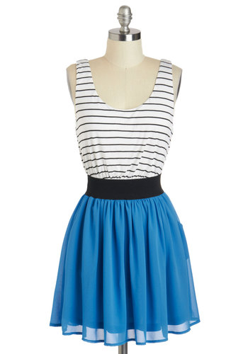 Double Feature Film Dress - Blue, Black, White, Stripes, Pockets, Casual, A-line, Tank top (2 thick straps), Scoop, Short, Twofer, Summer