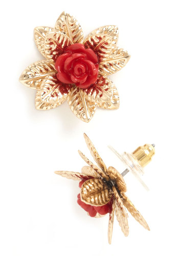 Prose Among Thorns Earrings - Solid, Flower, Red, Gold, Gold