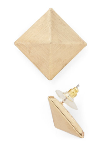 Pyramid Poise Earrings - Gold, Solid, Minimal