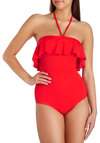 Strawberry Daiquiri One Piece by Zinke - Red, Solid, Ruffles, Beach/Resort, Nautical, Vintage Inspired, 70s, Halter, Summer