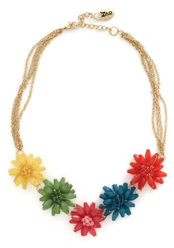 Beloved Blooms Necklace - Multi, Gold, Solid, Chain, Flower, Beads, Party, 60s