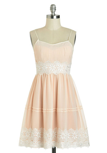 Life Is But A Gleam Dress - Mid-length, Pink, White, Crochet, Daytime Party, A-line, Spaghetti Straps, Fairytale, Wedding, Graduation, Bride