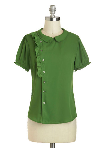 Fern Your Keep Top - Green, Solid, Buttons, Ruffles, Short Sleeves, Mid-length, Peter Pan Collar, Work, Collared, Vintage Inspired, 60s, Pinup, Green, Short Sleeve