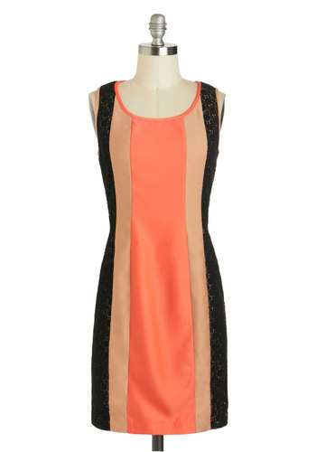 Métier Your Match Dress - Coral, Tan / Cream, Black, Lace, Sheath / Shift, Tank top (2 thick straps), Mid-length, Party, Scoop, Work, Colorblocking
