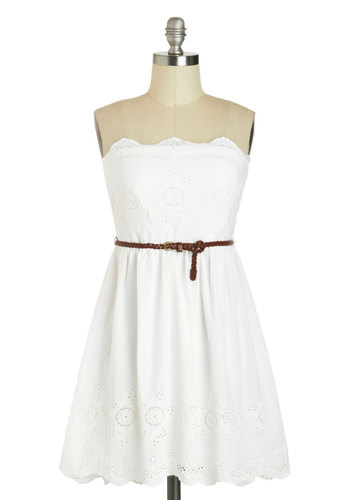 Easy on the Eyelets Dress - White, Solid, Eyelet, Belted, Casual, A-line, Strapless, Cotton, Scallops, Graduation, Summer