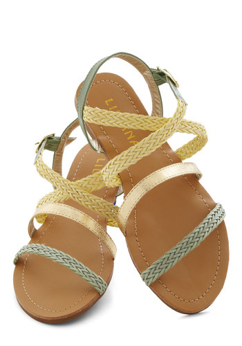 Sure Sign of Spring Sandal - Flat, Green, Yellow, Gold, Braided, Boho, Summer, Casual, Beach/Resort, Faux Leather, Strappy