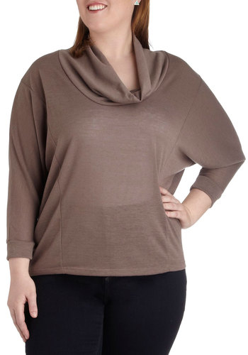 Mystery Book Top in Mocha - Plus Size - Brown, Solid, Work, Casual, Minimal, 3/4 Sleeve, Winter