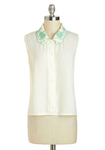 Pearly Dewdrops Top - Sheer, Mid-length, White, Green, Solid, Buttons, Embroidery, Sleeveless, Collared, Scallops, Pastel, Spring