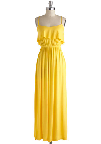 Jolly Good Yellow Dress - Long, Yellow, Solid, Ruffles, Casual, Maxi, Spaghetti Straps, Scoop, Summer, Beach/Resort, Vintage Inspired, 70s