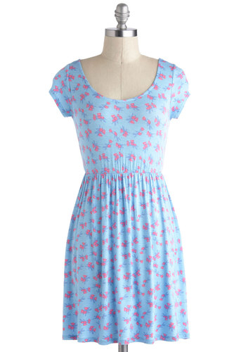 A Lark in the Park Dress - Short, Blue, Pink, Floral, Bows, Cutout, Casual, A-line, Cap Sleeves, Scoop, Spring, Summer