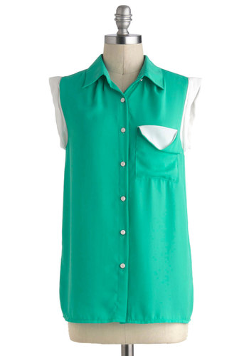 Manicure Monday Top - Mid-length, Green, White, Solid, Buttons, Pockets, Casual, Sleeveless, Collared, Button Down, Summer