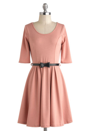 Abiding Beauty Dress in Pink - Mid-length, Pink, Solid, Bows, Belted, Casual, A-line, 3/4 Sleeve, Scoop, Work, Minimal