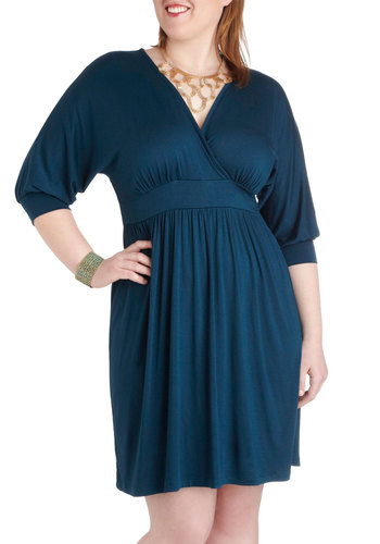 Sea-ing is Believing Dress in Plus Size - Blue, Solid, Casual, 3/4 Sleeve, Wrap, V Neck, Party, Minimal