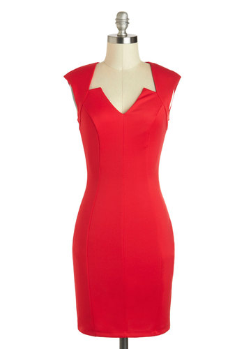 Downtown Denizen Dress - Mid-length, Red, Solid, Party, Bodycon / Bandage, Cap Sleeves, Cocktail, Girls Night Out, Minimal, Valentine's