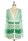 Refreshing Assort-mint Cardigan - Mid-length, Green, White, Print, Buttons, Casual, Long Sleeve, Travel