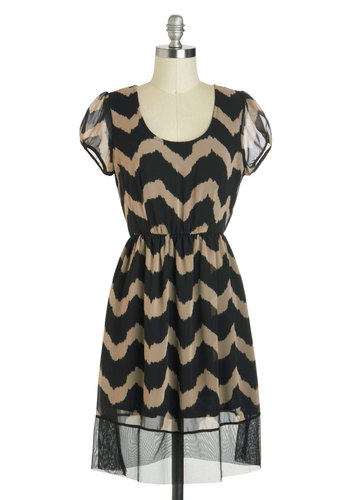 My Waving Grace Dress - Mid-length, Tan / Cream, Black, Chevron, Party, A-line, Cap Sleeves, Scoop, Sheer, Summer
