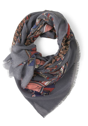 Clocking Out Scarf - Grey, Multi, Print, Steampunk