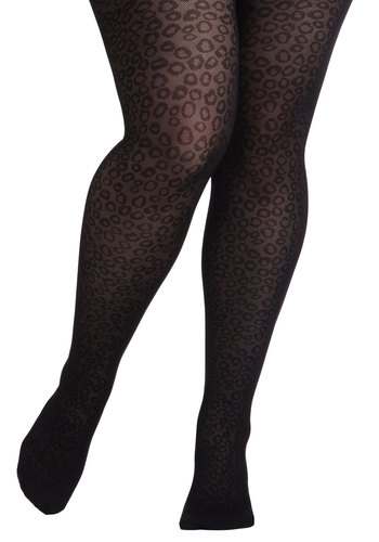 Wild You Were Out Tights in Plus Size - International Designer, Black, Animal Print, Sheer