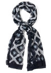 Squared Array Scarf - White, Print, Black, Blue, Winter