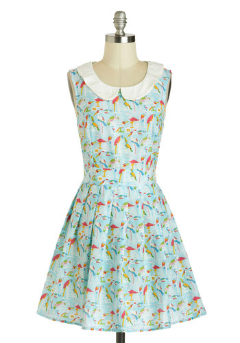Tropic the Charts Dress - Cotton, Blue, Multi, Print with Animals, Peter Pan Collar, Pleats, Belted, Casual, Fit & Flare, Sleeveless, Collared, Spring, Short