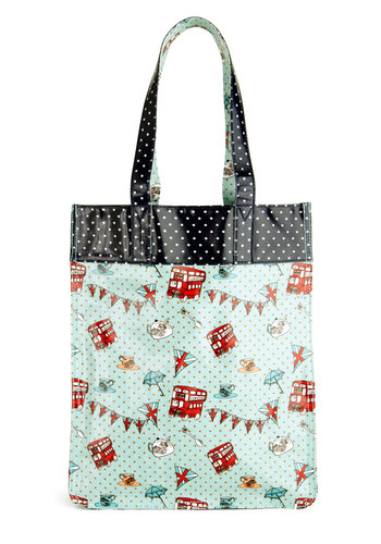 Queen for a Day Tote by Yumi - Blue, Multi, Polka Dots, Print, Kawaii, Novelty Print, Travel
