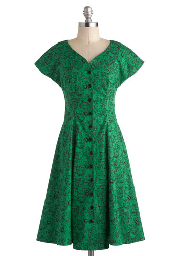 Lions and Tigers and Flare Dress by Nooworks - Cotton, Long, Green, Black, Print with Animals, Buttons, Casual, A-line, Cap Sleeves, V Neck, Vintage Inspired, 40s, 50s, Quirky, Cats