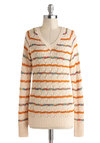 Library Afternoon Sweater - Mid-length, Cream, Red, Orange, Green, Blue, Stripes, Knitted, Long Sleeve, Casual, Winter, Fall, Multi, Long Sleeve