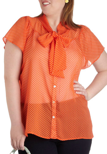 Jonquil You Be Mine? Top in Orange - Plus Size - Sheer, Orange, White, Polka Dots, Bows, Buttons, Work, Vintage Inspired, Short Sleeves, Collared, 60s, Pinup
