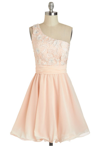 Enthralling Entrance Dress - Wedding, Vintage Inspired, 60s, Pink, White, Rhinestones, Fit & Flare, One Shoulder, Solid, Lace, Prom, Fairytale, Pastel, Mid-length, Bridesmaid, Party