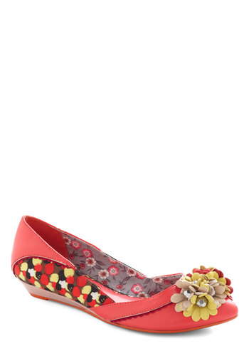 Love is in the Pair Wedge by Poetic License - Red, Multi, Solid, Print, Flower, Low, Wedge, Faux Leather, Spring