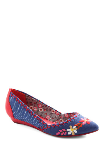 Edelweiss as Nice Wedge by Poetic License - Blue, Multi, Solid, Polka Dots, Embroidery, Low, Wedge, Faux Leather, Party, Daytime Party