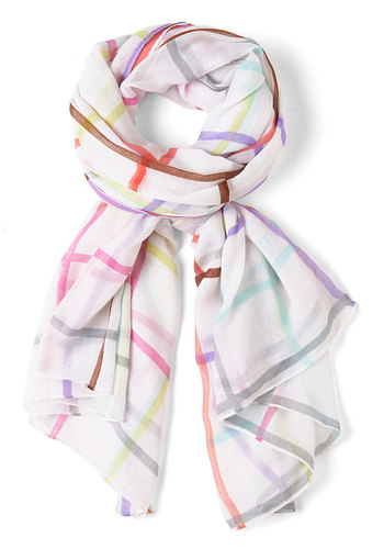 Plaid Perfection Scarf - White, Multi, Checkered / Gingham, Pastel