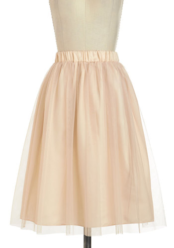 Going Tulle Be Lovely Skirt in Gold - Long, Cream, Solid, Formal, Prom, Party, A-line, Cocktail, Fairytale